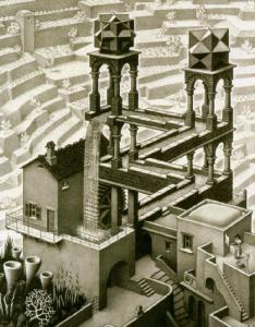 Waterfall - Lithograph by Escher (1961)